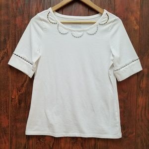 Talbots Woman's Embroidered White Blouse Size S